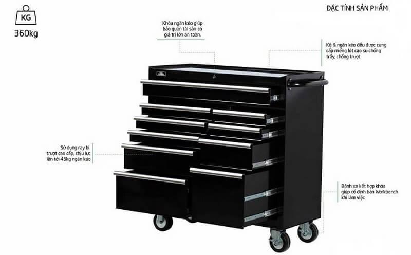 Tủ đồ nghề ô tô cao cấp 10 ngăn