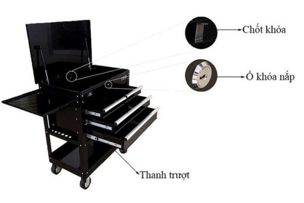 Tủ đồ nghề ô tô thông dụng 4 ngăn